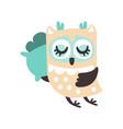 cute cartoon owl bird sleeping colorful character vector image