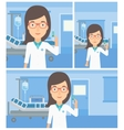 Doctor with syringe in hospital ward vector image vector image