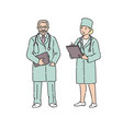 doctor woman and man in professional uniform vector image