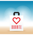 donate symbol with heart on paper bag vector image