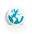 earth icon paper vector image vector image