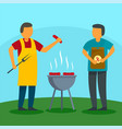 family bbq holiday at home background flat style vector image