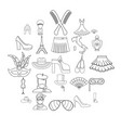 fashion designer icons set outline style vector image
