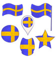 flag of the sweden performed in defferent shapes vector image