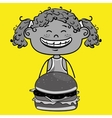 girl burger food vector image