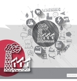 Hand drawn factory icons with icons background vector image vector image