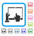 hand points pda framed icon vector image vector image