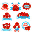 happy spring springtime holidays floral icon set vector image vector image