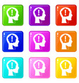 head with exclamation mark inside icons 9 set vector image vector image