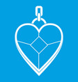 heart shaped pendant icon white vector image vector image
