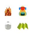 Hike set isolated Fire backpack cauldron vector image vector image