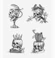 human skull retro old school sketch for tattoo in vector image vector image