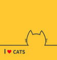 i love cats heart black cat head face contour vector image