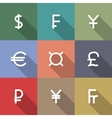 Icons currency symbols vector image vector image