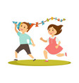 kids playing with kite toy cartoon boy and vector image