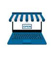laptop display blue online shop open vector image vector image
