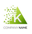 letter k logo symbol in colorful triangle vector image vector image