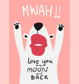 love card white dog with big kiss mwah vector image