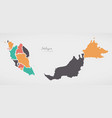 malaysia map with states and modern round shapes vector image