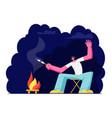 man at campfire at night and frying marshmallow vector image vector image