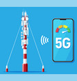 mobile smartphone and 5g communication tower vector image