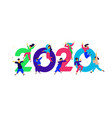 new year 2020 people tweet and have fun around vector image vector image