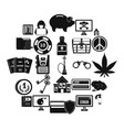 offence icons set simple style vector image vector image