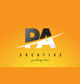 pa p a letter modern logo design with yellow vector image vector image