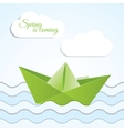 paper origami boat icon on spring vector image vector image
