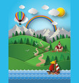 sailing boat and cloud with rainbow vector image