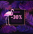sale banner violet background with pink flamingo vector image