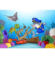 Sea animals with Shipwreck on the ocean vector image
