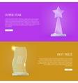 Set of Glass Awards Trophy Rewards Web Banner vector image