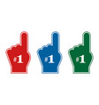 set of thumb up number one fan number one fan red vector image vector image