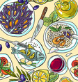 simpless hand-draw pattern mediterranean food vector image vector image