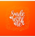 Smile with me quote banner vector image