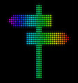 spectral colored dotted road pointer icon vector image vector image