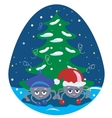 Spiders under the Christmas Tree vector image vector image