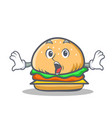 surprised burger character fast food vector image vector image
