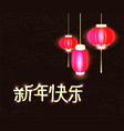text happy new year chinese with red flashlights vector image vector image
