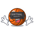 virtual reality volleyball mascot cartoon style vector image vector image