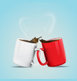 white and red coffee cup vector image vector image
