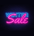 winter sale neon text design template big vector image vector image