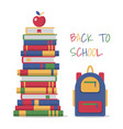 education template design with books pile vector image