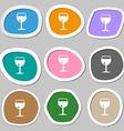 glass of wine icon symbols Multicolored paper vector image