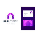 real estate logo template with business card vector image
