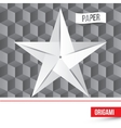 paper origami star icon on 3d cube vector image