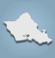 3d isometric map oahu is an island in hawaiian vector image