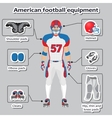 American football player equipment vector image vector image