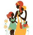 Beautiful mother silhouette with her children vector | Price: 1 Credit (USD $1)